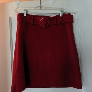H&M red acrylic a line skirt with belt size 8